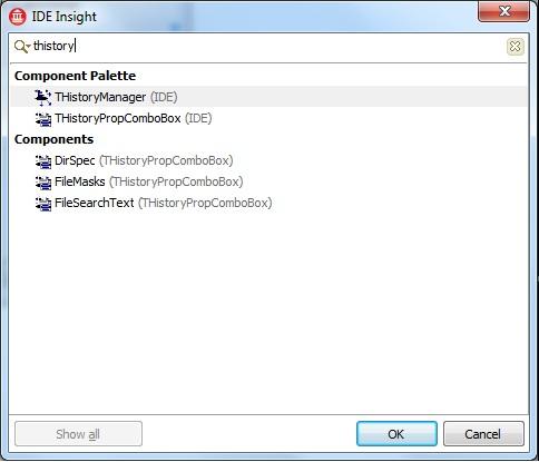 Context sensitive items (designer is active)