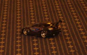 Race car model on the conference room floor