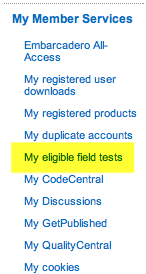 My eligible field tests navigation element