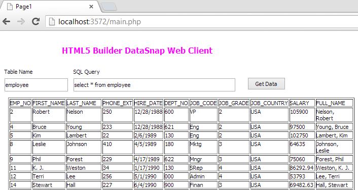 HTML5 Builder - DataSnap REST Client Module for DataBase Tutorial